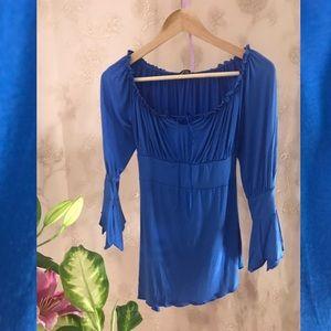 PattyBoutik bright blue peasant top.